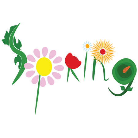 Concept illustration with the word spring decorated by different types of flowers Vector