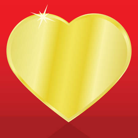 rich couple: Illustration of a heart made of gold, over a red background