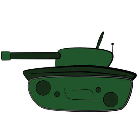 Cartoon illustration of a green armored tank Stock Vector - 4573178