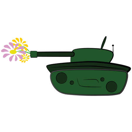 Concept illustration showing a cartoon tank firing some flowers instead of shells Vector