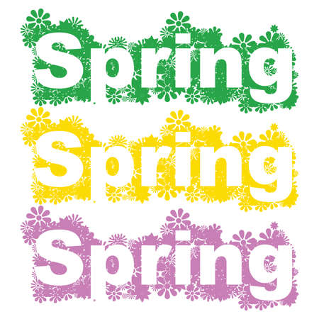 cutting through: Background flowers with the word spring cutting through them.