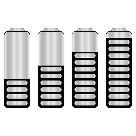 Illustration of a series of batteries, each with a different level of charge