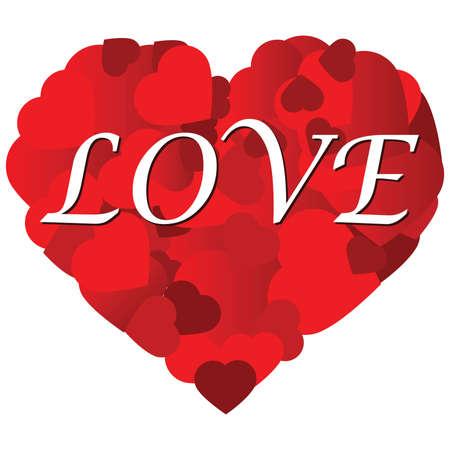 Illustratie van een hart gemaakt van kleinere harten, en met gestileerde woord LOVE erin Stock Illustratie