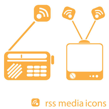 Illustration of vintage radio and TV with RSS symbol coming out from the antenna to show transfer of information Stock Vector - 4573182