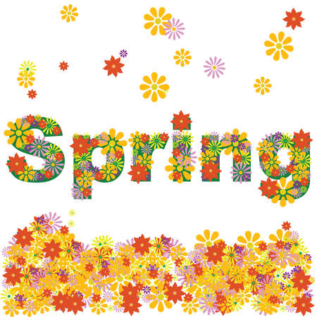 Concept illustration of flowers forming the word SPRING
