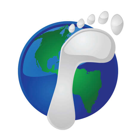 Illustration of a footprint on top of Earth, to symbolize the ecological footprint of mankind on the planet Ilustração
