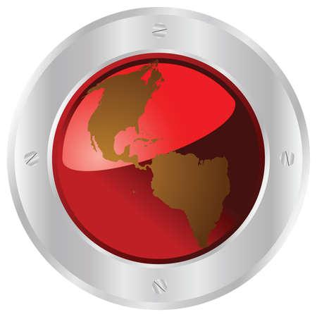 Illustration of a red planet Earth button with a metallic border Illusztráció