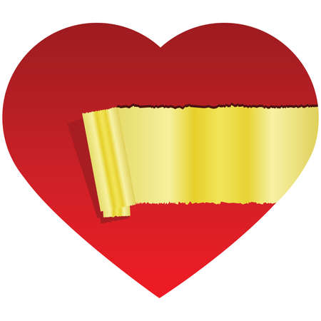 Illustration of a red heart being peeled to reveal a golden heart underneath Vector
