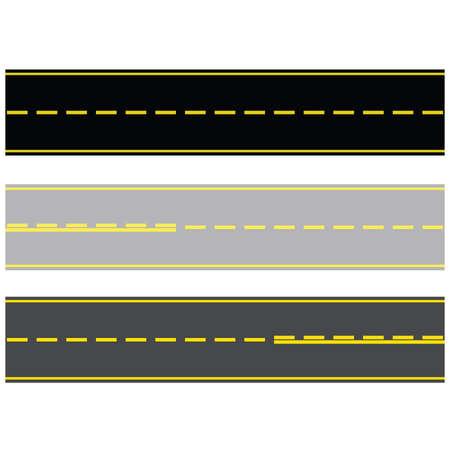 Ilustración de tres diferentes tipos de carreteras pavimentadas con asfalto y concreto