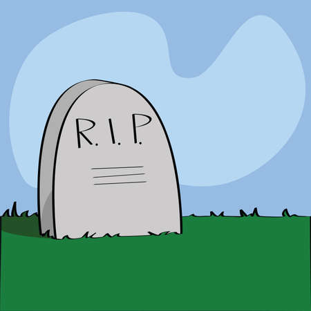 rest in peace: Illustration of a cartoon tombstone with R.I.P written on it.