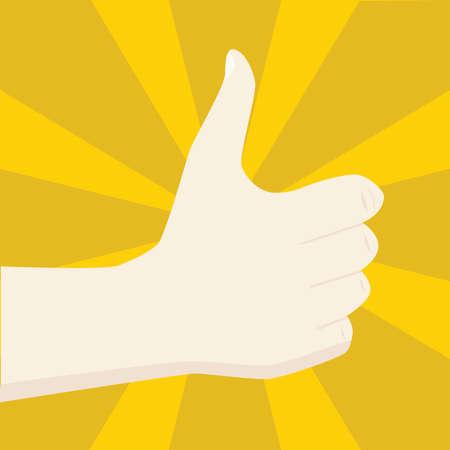 Illustratie van een hand die een positief teken, dwz. met de duim omhoog