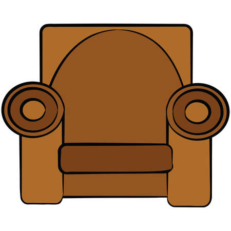 Cartoon illustration of a brown leather armchair Ilustração