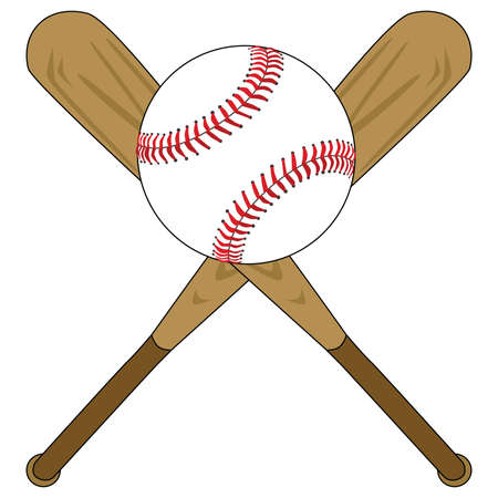 Illustration of two wooden baseball bats and a baseball