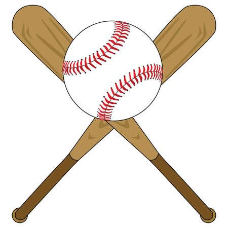 bats: Illustration of two wooden baseball bats and a baseball
