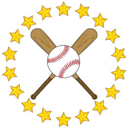 2 つの木製野球バットと金色の星によって囲まれた野球の図