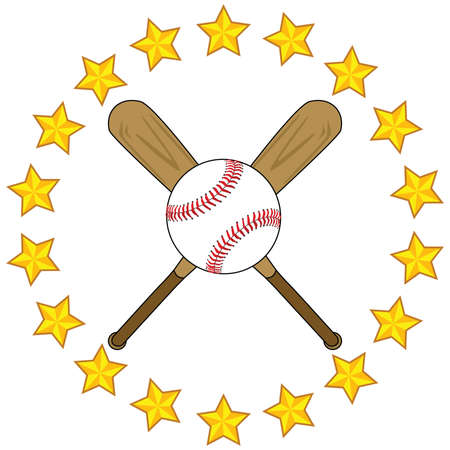 Illustration of two wooden baseball bats and a baseball surrounded by golden stars Ilustrace
