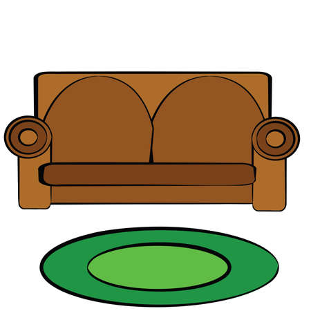 Cartoon illustration of a brown leather couch Vector