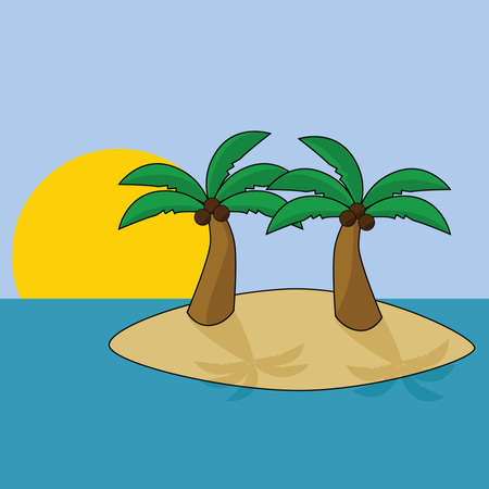 Cartoon illustration of a tropical island with two palm trees, with the sun setting in the background