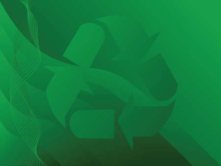 artboard: Illustration with the recycling symbol over a green patterned background