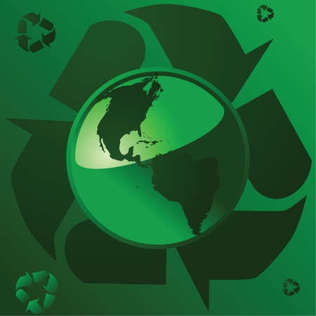 Illustration of a glossy green Earth over the recycling symbol