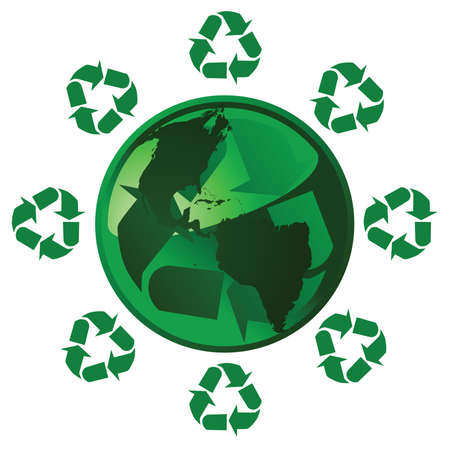 Illustration of a glossy green Earth with a recycling theme