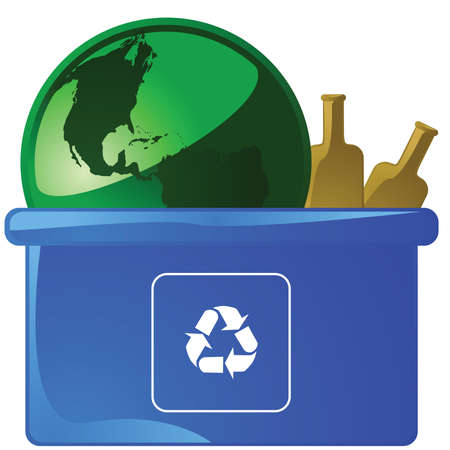 Illustration of a glossy green Earth placed on a blue recycling bin with empty glass bottles Illustration