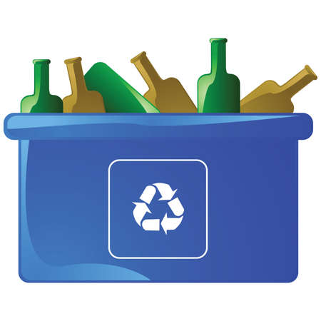 Illustration of a blue recycling bin with empty glass bottles