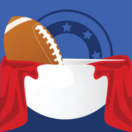 Illustration of an American football inside a crystal bowl with red fabric around it and a blue background Vector