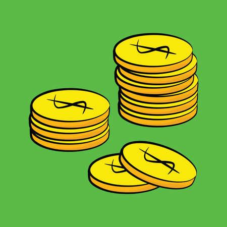 Ilustración de dibujos animados de varias monedas de oro de colores apiladas junto Foto de archivo - 4573226