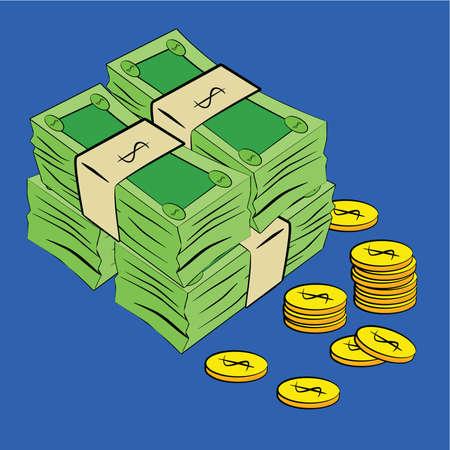 stack of cash: Ilustraci�n de dibujos animados de monedas y billetes dispersos en un fondo azul