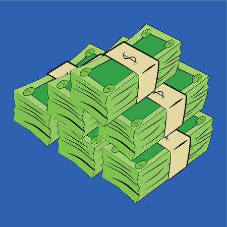 Cartoon illustration of generic green money bills stacked together
