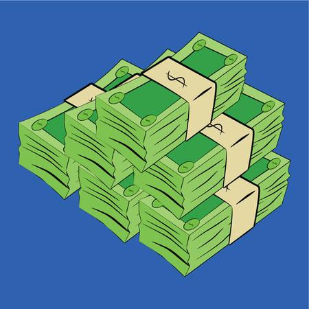 rozpraszać: Cartoon ilustracja ogólnej zielone bonów pieniężnych zestawionych razem Ilustracja