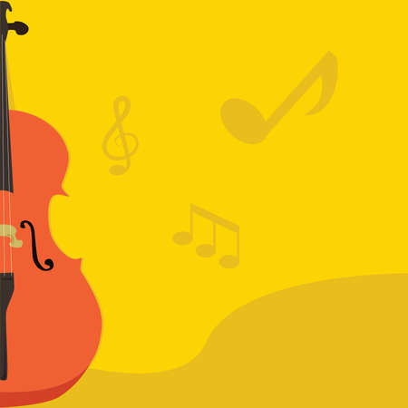 violoncello: Concept illustration of a page layout with a musical theme, with a cello on the side of the page.