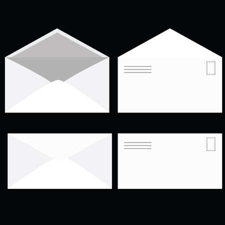 Illustration of an envelope, seen open and closed, from its front and back. Vector