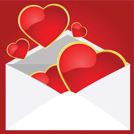sender: Illustration of an envelope being opened to reveal glossy hearts coming out of it. Illustration