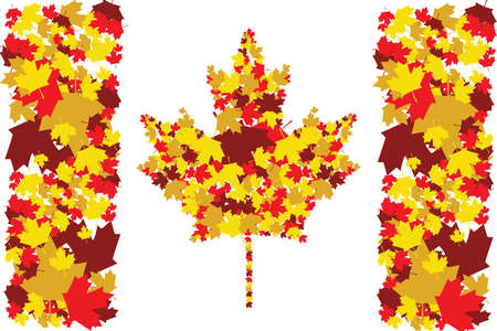 Illustration of the Canadian flag made up of maple leafs in different fall colors