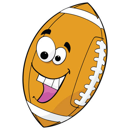 Illustration of a cartoon football excited about a game