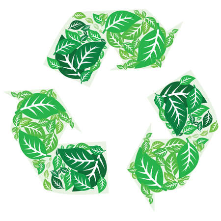 Illustration of a recycling symbol made up of tree leaves in different shades of green Illusztráció
