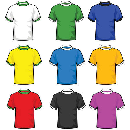 Illustration set of t-shirts in different colors