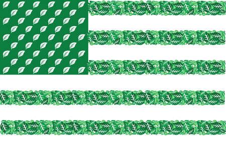 ツリーの葉緑の異なった色合いで成って米国旗のイラスト  イラスト・ベクター素材