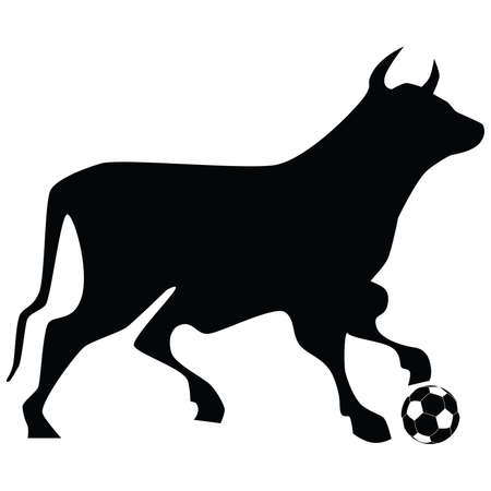 animal silhouette: Illustration silhouette of a bull stepping on a soccer ball.