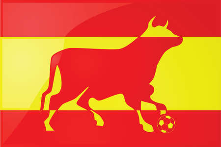 stepping: Illustration of a yellow and red bull stepping on a soccer ball in front of the Spanish flag. Illustration