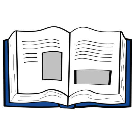 Cartoon illustration of an open book