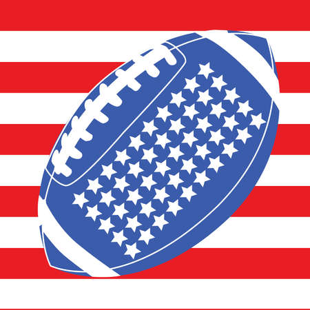 Concept illustration with an American football over the United States flag  Vector