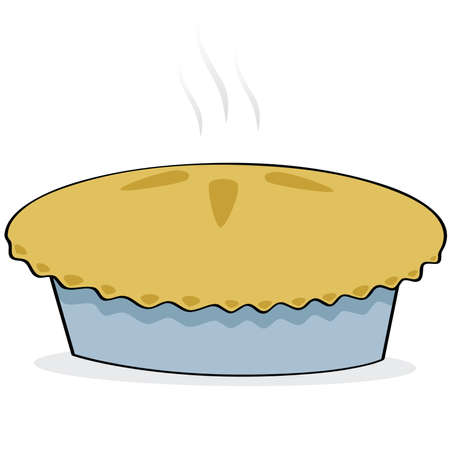 Cartoon illustration of a freshly baked apple pie