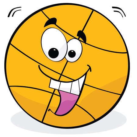 Cartoon illustration of a basketball with a happy face