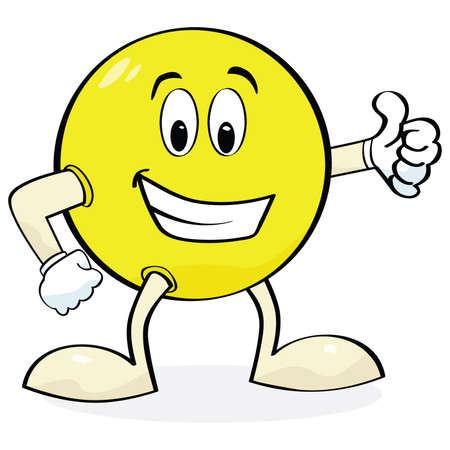 Cartoon illustration of a happy face with hands and legs showing a thumbs up sign