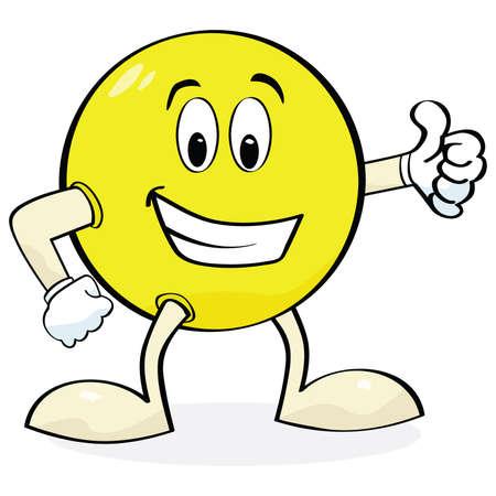 carita feliz: Ilustraci�n animada de una cara feliz con manos y piernas mostrando un signo de pulgar arriba Vectores