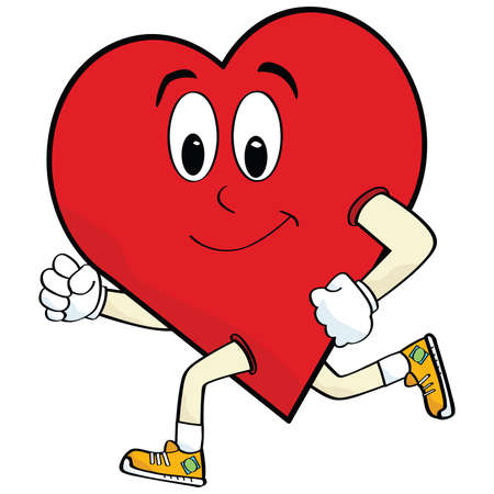 Cartoon illustration of a heart running to keep healthy Vector