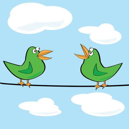 Cartoon illustration of a couple of birds chirping on a wire Stock Vector - 7420071